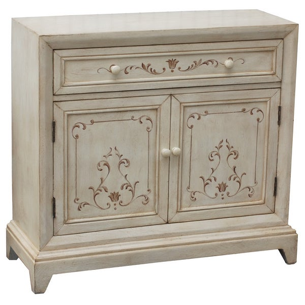 Preston Antique White Wood Accent Cabinet