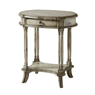 Brendan Antique White Wood Side Table