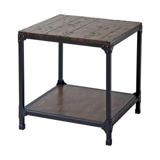 Carson Industrial Style Iron and Wood End Table
