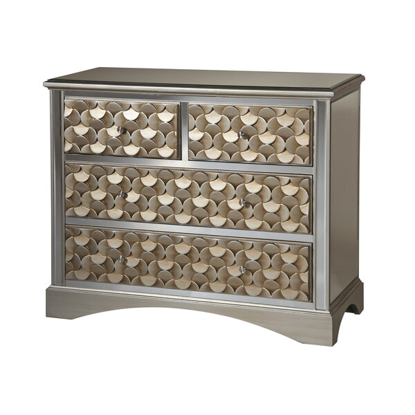 Savona 3-drawer Gold Finish Mirrored Accent Chest