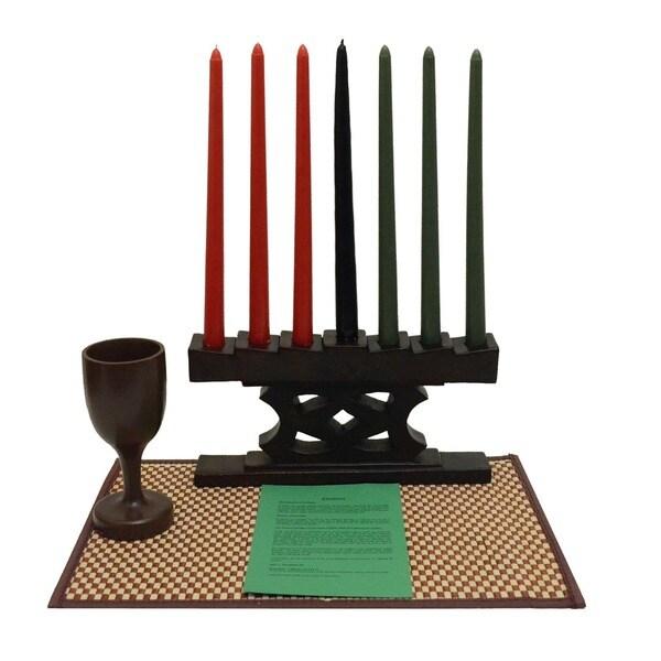 Hand-finished Adinkra Kwanzaa Candle Holder Set (Ghana) 12234308