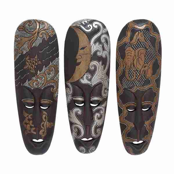 Assorted African Masks (Set of 3)