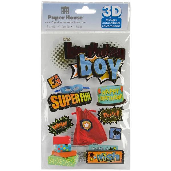 Paper House 3-D Sticker - Birthday Boy