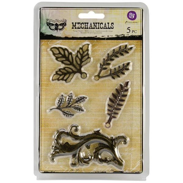 Mechanicals Metal Embellishments - Leaves #1 5/Pkg