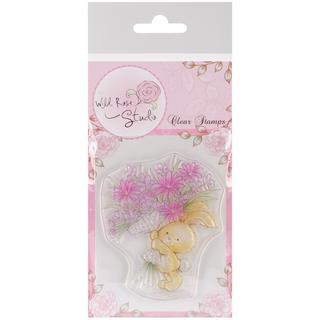Wild Rose Studio Ltd. Clear Stamp - Bunny With Flowers