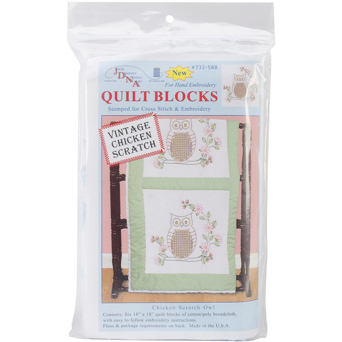 Jack Dempsey Stamped White Quilt Blocks 18 X18 6/Pkg - Chicken Scratch Owls