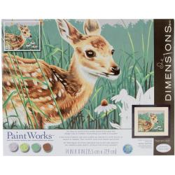 Paint By Number Kit 14 X11 - Fawn And Flowers