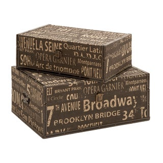 Classic Old Time Wood Leather 2-piece Box Set