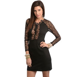 Stanzino Women's Black Lace Long Sleeve Cocktail Dress