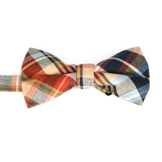 Skinny Tie Madness Men's Brown Plaid Bowtie