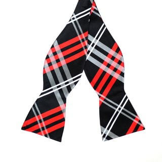 Skinny Tie Madness Men's Black and Red Plaid Bowtie