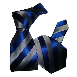 Dmitry Men's Blue-and-Gray Striped Italian Silk Tie