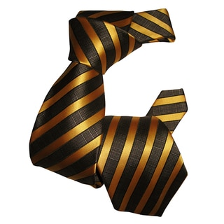 Dmitry Men's Gold Striped Italian Silk Tie
