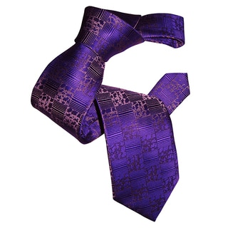 Dmitry Men's Purple Abstract-Pattern Italian Silk Tie