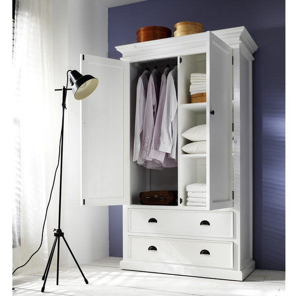 Interior Distressed White Wardrobe Armoire