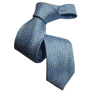 Dmitry Men's Blue Patterned Italian 100 Percent Silk Tie