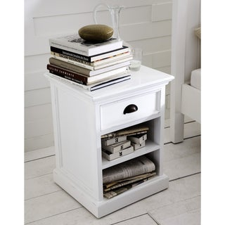 Interior Distressed White Single-drawer Nightstand