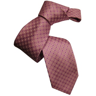 Dmitry Men's Pink Patterned Italian Silk Tie with Classic Design