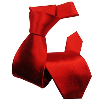 Dmitry Men's Deep-Red Hole-Patterned Italian Silk Tie