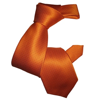 Dmitry Men's Classic Orange Patterned Italian-Silk Tie