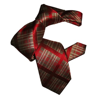 Dmitry Men's Red Plaid-Patterned Italian Silk Tie