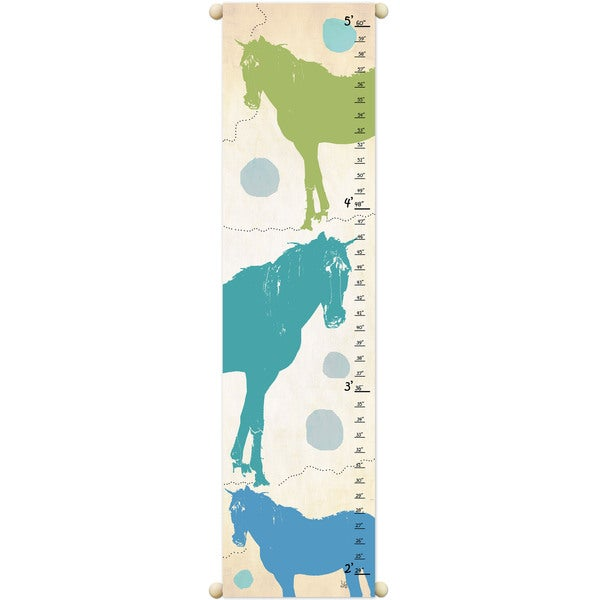 Green and Blue Horses Growth Chart