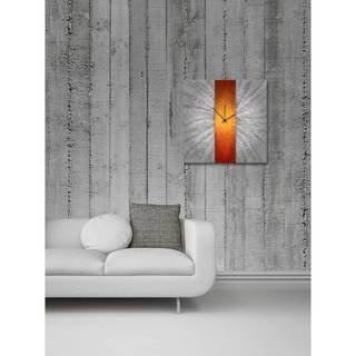 Orange Stripe Modern Metal Wall Clock