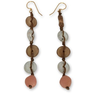 Handcrafted Recycled Glass 'Peachy Pretty' Earrings (Ghana)