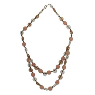Handcrafted Recycled Glass 'Peachy Pretty' Necklace (Ghana)