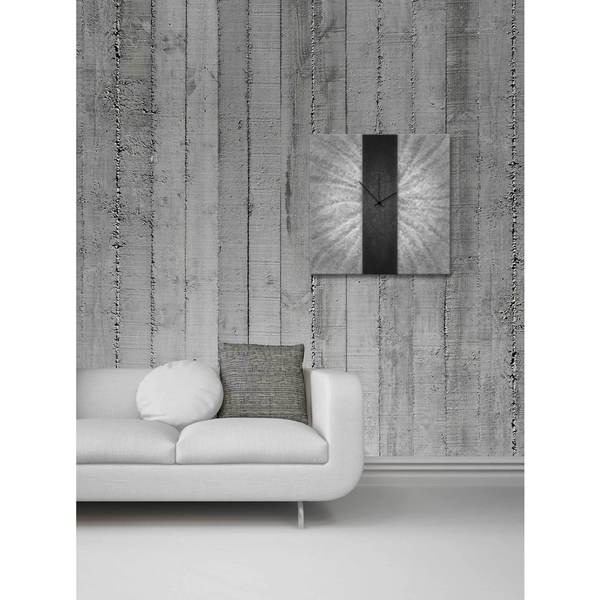 Black Stripe Modern Metal Wall Clock 12235661