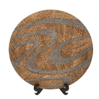 Tan and Silver Round Wall Disc
