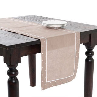 Embroidered Table Runner with Dotted Border