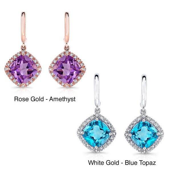 14k Gold 1/5ct TDW White Diamond and Gemstone Earrings (J-K, I1-I2)