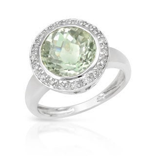 14k White Gold 1/10ct TDW Diamond Green Amethyst Ring (H-I, SI1-SI2)