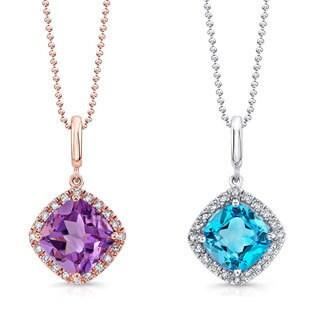 14k Gold 1/10ct TDW White Diamond and Gemstone Pendant Necklace (J-K, I1-I2)