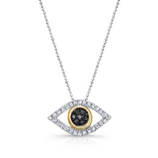 Sterling Silver 1/6ct TDW Black and White Diamond Evil Eye Pendant Necklace (J-K, I2-I3)
