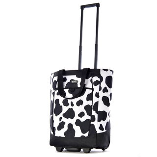 Olympia Cow Print 20-inch Fashion Rolling Shopper Tote