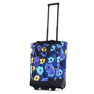 Olympia Flower Print 20-inch Fashion Rolling Shopper Tote