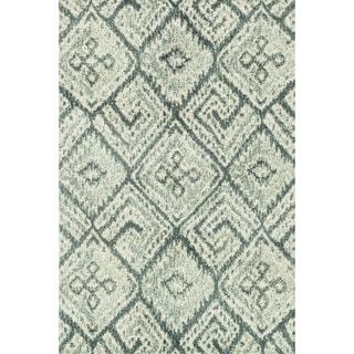 Microfiber Woven Beckett Teal/ Multi Rug (5'0 x 7'6)