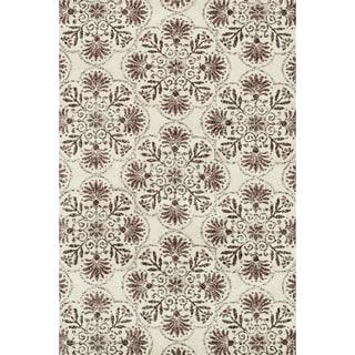 Woven Beckett Brown/ Grey Microfiber Rug (9'3 x 13)