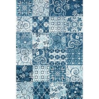 Microfiber Woven Beckett Blue/ Multi Rug (3'6 x 5'6)