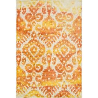 """Ikat Sunset Orange/ Ivory Area Rug - 5'2"""" x 7'7"""""""