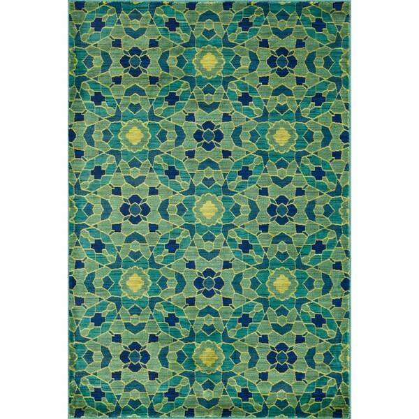 Skye Monet Green/ Multi Rug (5'2 x 7'7)