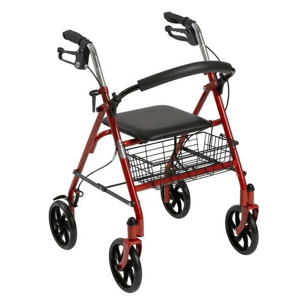 Rollator 4-wheel Walker with Fold-up Removable Back Support