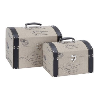Wood and Leather Storage Trunks (Set of 2)