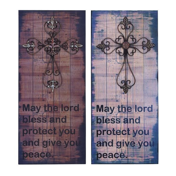 Great Lords Blessing Metal Cross Wall Plaques (Set of 2)