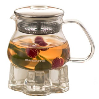Ovente FGB17T Warmer and 17-ounce Glass Tea Pot Set