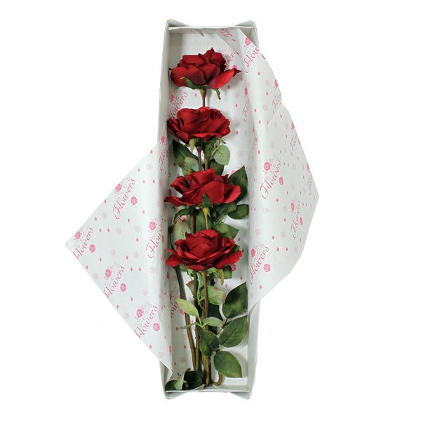 Red Roses Silk Flower Bouquet and Valentine's Gift Box