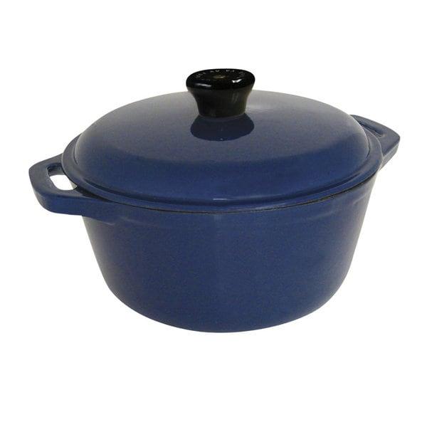 Le Cuistot Classic Enameled Cast-iron Round Blue Casserole Dish