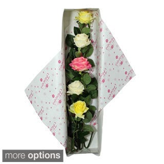 All Occasion Silk Rose Flower Bouquet and Gift Box